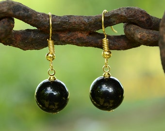 Black onyx earrings,Onyx earrings, Onyx gold plated earrings, Onyx earrings gold, Gold earrings onyx, Black onyx drop earrings, Onyx drop.