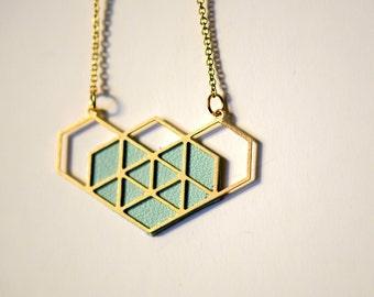 sky blue heart geometric necklace