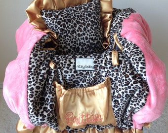 Leopard, Coral, and Gold Shopping Cart Cover/Restaurant High Chair Cover/Park Swing Cover
