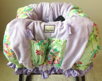 SALE Love Water Bouquet Mint and Lavender Shopping Cart Cover/Restaurant High Chair Cover, Park Swing Cover, In Stock and Ready to Ship