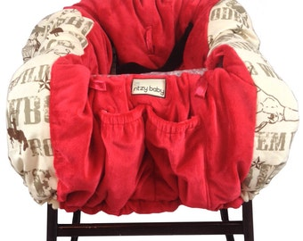 Cowboy and Red Shopping Cart Cover/Restaurant High Chair Cover, Park Swing Cover