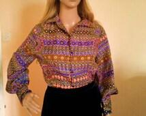 Vintage 70s bohemian blouse- Hippy blouse- Brown, Purple, Orange retro puffy sleeves blouse- Autumn colors
