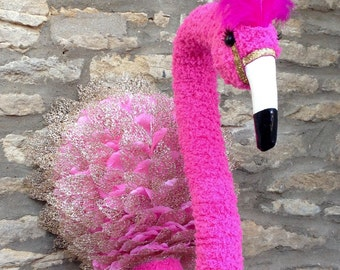 Handmade faux taxidermy funky pink flamingo wall mounted animal head trophy