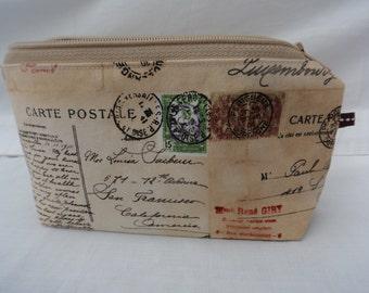 Purse // makeup bag// zipper pouch // vintage postcards