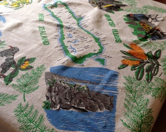 Vintage New Zealand / Souvenir Tablecloth