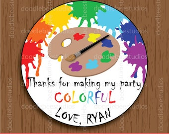 Art Party Favor Tags, Art Party Printable Tags, Paint Party Tags, Colorful Art Tags, Paint Party, Art Party, Art Party Printables