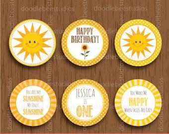 Sunshine Cupcake Toppers, Printable Cupcake Toppers, Sunshine Party,Sunshine Printables,Personalized Toppers,Sunshine Labels, Sunshine Theme