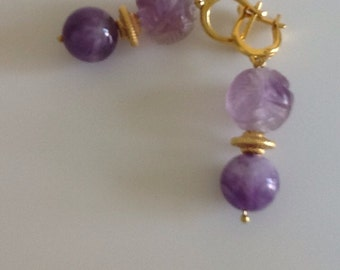 Vintage carved amethyst earrings on silver gold plated hooks