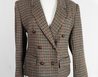 Vintage Double Breasted Classic English Wool Check Ladies Jacket  Size S