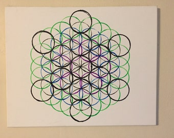 Flower Of Life Acrylic Painting