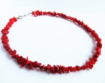 Vintage Red Coral 925 Sterling Silver Necklace, Chunky Red Statement Necklace, Red Coral Gemstone Sterling Necklace, Estate Jewelry, 1960s'