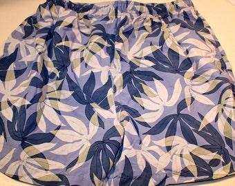 Vintage 90's Tommy Bahama men's swim trunks swimming shorts suit size L blue leaf print