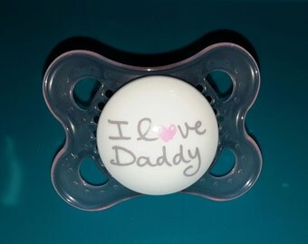 Custom magnetic or putty I love daddy pacifiers for reborn baby dolls