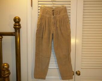 Vintage 80s-90s Jordache Corduroy Pants Very High Waist Cropped Pleated Tan 26 Inch Waist  C