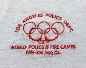 1985 World POLICE & FIRE GAMES San Jose Olympic Vintage Shirt