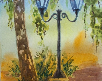 Street lamp, original watercolour painting
