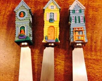 Vintage Mini House Butter Knives/Dip Spreaders - Set of 3