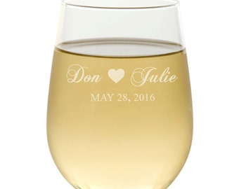 Stemless Wine Glasses, Etched Wine Glasses, Wedding Favors Wine Glasses, Wine Gift, Wedding Gifts