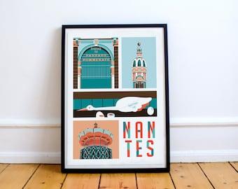 Nantes affiche A3 - Art - Ville - Illustration vectorielle - Cadeau - Décoration murale - Décor d'intérieur - Lea Lafleur poster - Souvenirs