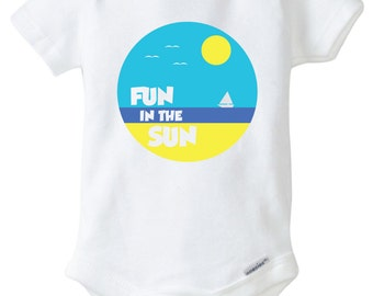Fun in the Sun Onesie Design, SVG, DXF, EPS Vector files for use with Cricut or Silhouette Vinyl Cutting Machines