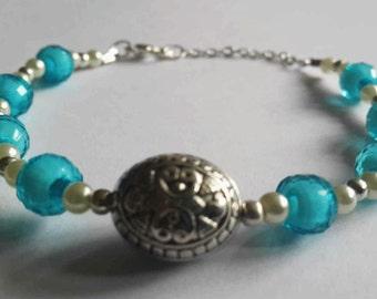 Clarissa Clear Blue Handmade Beaded Bracelet