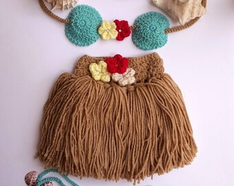 Hula Girl outfit - Girls Hula Skirt - Baby Hula Skirt - Newborn Crochet Outfit - Baby's First Pictures - Hawaiian Hula Girl - Handmade