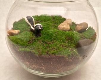 """Live Moss Terrarium with """"Hagen-Renaker"""" Skunk Figurine"""
