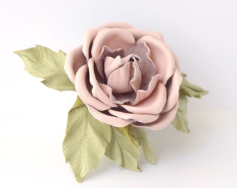Pink Leather  Rose Brooch, Leather jewelry, leather roses, gift for her, wedding anniversary, Mothers Day gift, leather brooch