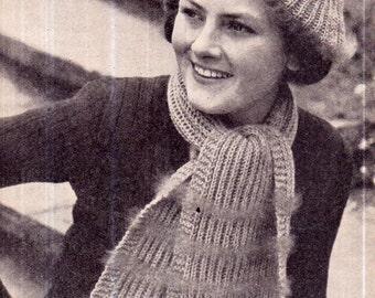 Genuine Vintage Antique Fluffy Beret and Scarf Set Knitting Pattern PDF