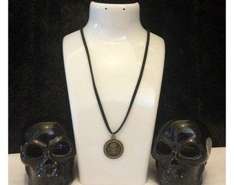 Skull and crossbones necklace - skull pendant