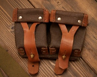 WWII Leather Ammo Pouch for Russian Mosin Nagant Rifle