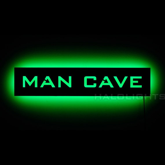 Man Cave Entrance Signs : Lighted man cave sign mancave led backlit wall art by