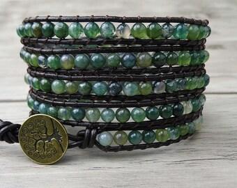 Leather Wrap Bracelet Moss Grass Agate beads Bracelet Natural Stone Bead wrap Bracelet Yoga bracelet Boho bracelet Christmas gift SL-0032