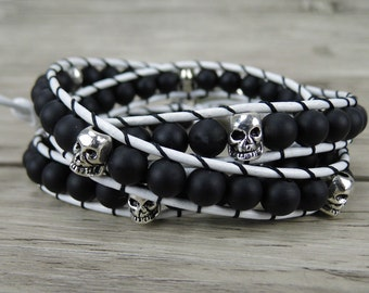 skull wrap bracelet skull bead bracelet matt agate bracelet black bead bracelet boho beaded bracelet yoga leather wrap bracelet SL-0248