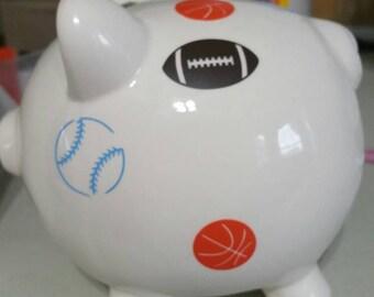 Personalized boy piggy bank, piggy bank, boy name on piggy bank, piggy bank with planes