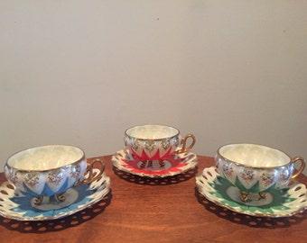 Mid Century Vintage Ucago Tea Cup Set of Three with Saucers