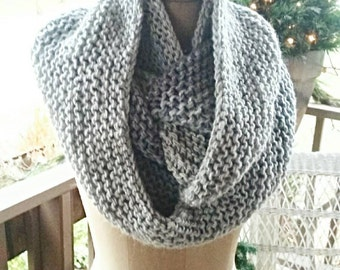 Three Shades of Gray Extra Long Cowl. Hand Knitted.
