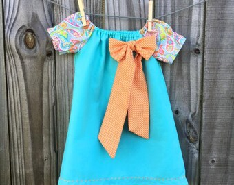 Aqua and Orange Peasant Dress