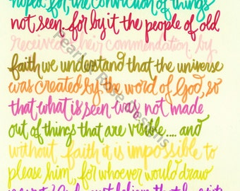 Bible verse printable - hand drawn, Hebrews 11:1-3,6 color pallete INSTANT DOWNLOAD