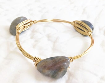 Grey natural stone gold wire wrapped bangle bracelet jewelry