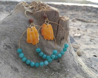 Aqua and Orange Shell Earrings