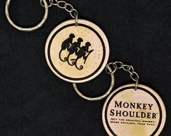 Monkey Shoulder Whisky Whiskey Hand Made Engraved Wood Keyring Keychain