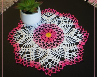 "Pink Crochet Doily Rosehip 10.82"",lace ,color doily,white + pink+yellow"
