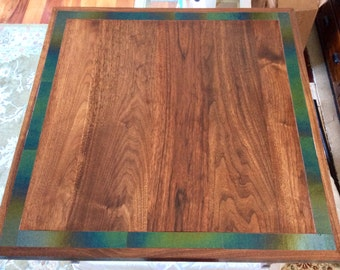Walnut Table with Stained Glass