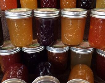 Peach Preserves- Peach Jelly- Peach Jam- Jams- Homemade Preserves- Homemade Jams- Homemade Jelly- Homegrown Fruit- Christmas Gift- Stocking