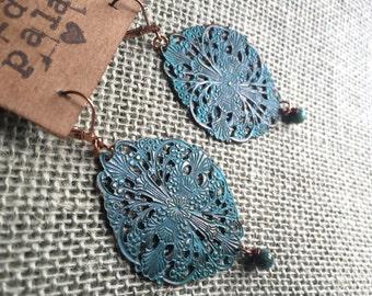 Copper Teal Dangle Earrings