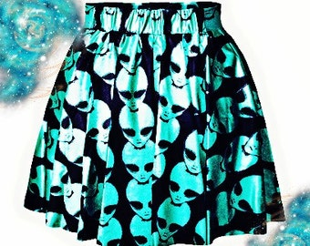 Holographic Galactic Alien Skirt