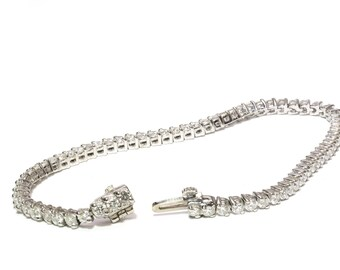 Diamond Bracelet, Tennis Bracelet, 14k White Gold, 3.5 ct TW, VS1 or VS2 Clarity, G or H Color, Link Bracelet, Chain Bracelet, Gold Bracelet