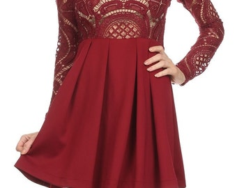 Burgundy Crochet Lace Dress