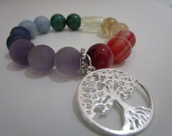 Seven chakra, Chakra bracelet, Chakra stone, Womens bracelet, Womens jewelry, Gift, Gift for women, Tree of lfe bracelet, Natural stone